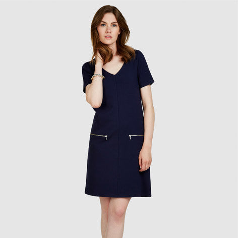 V-Neck Ponte Zip Pocket Dress
