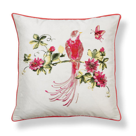 Harewood Embroidered Pink Grapefruit Cushion
