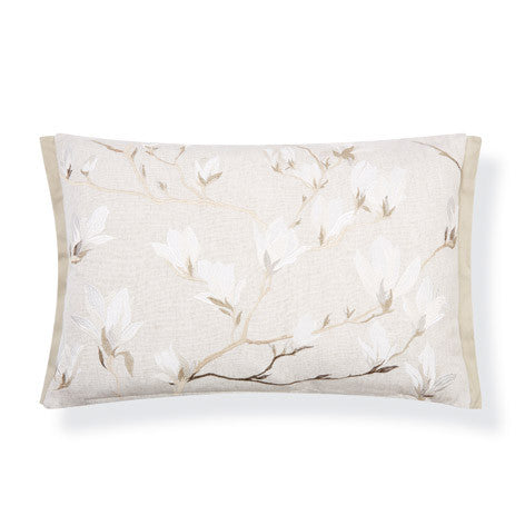 Magnolia Grove Embroidered Natural Cushion