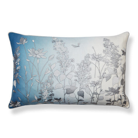 Dragonfly Embroidered Dark Seaspray Cushion