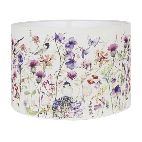 Flower and Bird Print Drum Shade