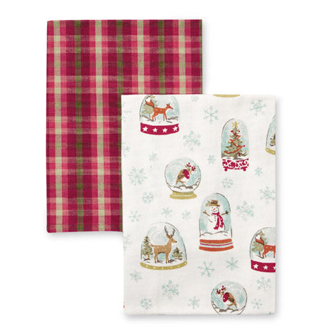 Snow Globe And Falkirk Check Tea Towels Set of 2