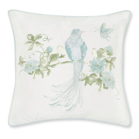 Harewood Embroidered Duck Egg Cushion
