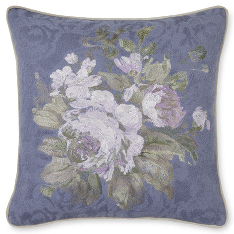Violetta Embroidered Iris Cushion