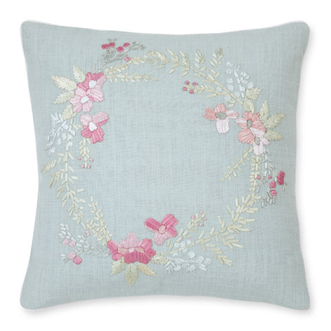 Becky Floral Wreath Duck Egg Cushion