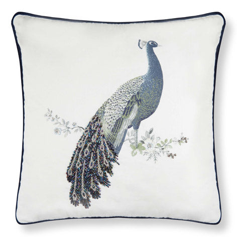 Peacock Beaded Cushion