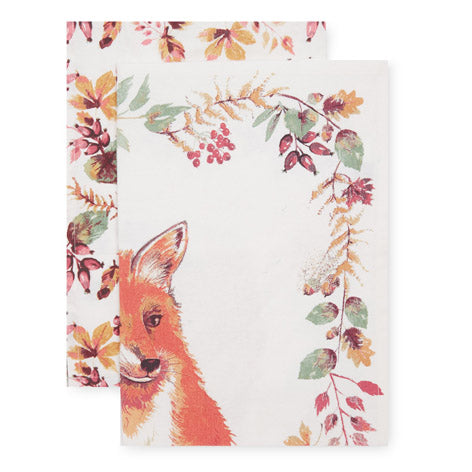 Set of 2 Fox Tea Towels