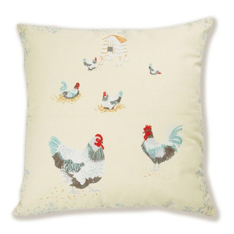 Chickens Embroidered Cushion