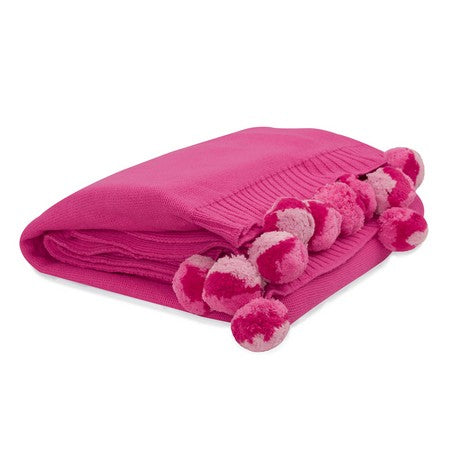 Pink Pom Pom Cotton Blanket