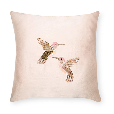 Hummingbird Embellished Blush Cushion