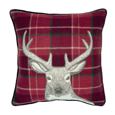 Stag Embroidered Check Cranberry Cushion