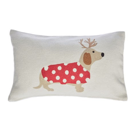Christmas Dachshund Embroidered Cushion