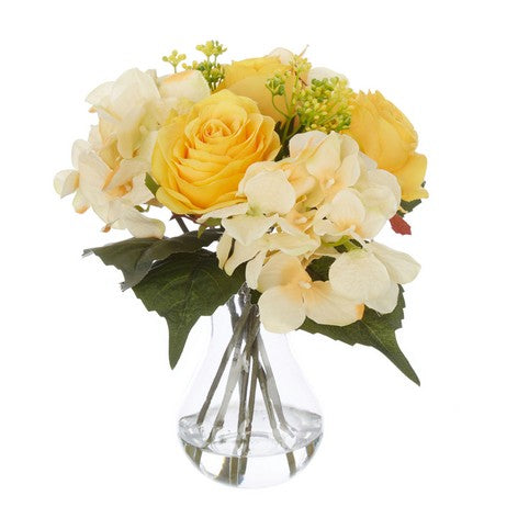 Yellow Rose and Hydrangea Posy in Vase