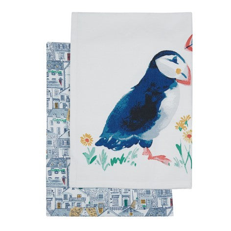 Puffin Harbour Printed Tea Towels