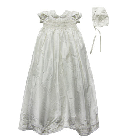 Silk Christening Gown with Bonnet