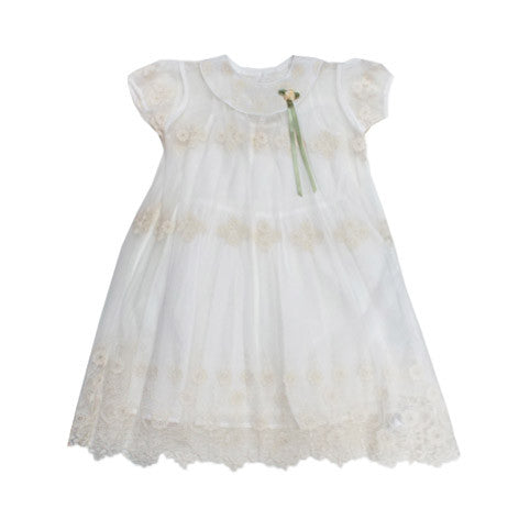Embroidered Mesh Toddler Dress