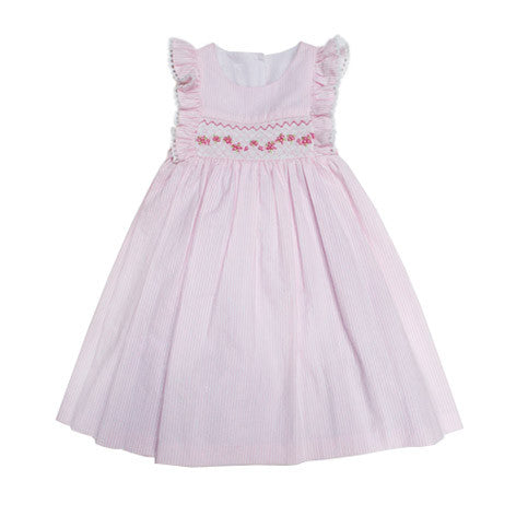 Seeersucker Smocked Toddler Dress