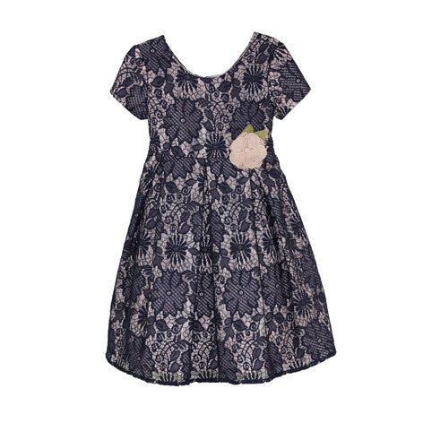 Short Sleeve Lace Toddler Dress