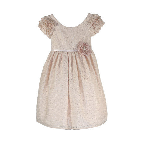Ruffled Sleeve Lace Toddler Dress