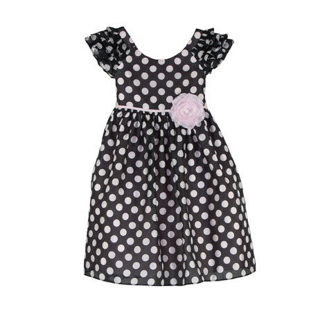 Ruffled Sleeve Spot Toddler Dress