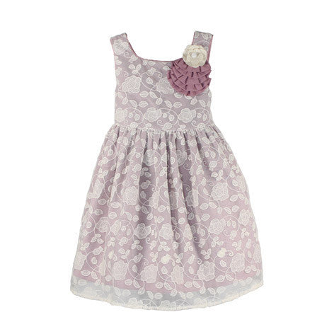 Sleeveless Embroidered Mesh Toddler Dress