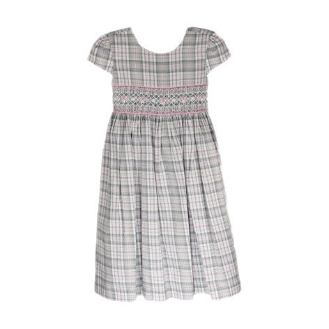 Plaid Cap Sleeve Smocked Toddler Dress