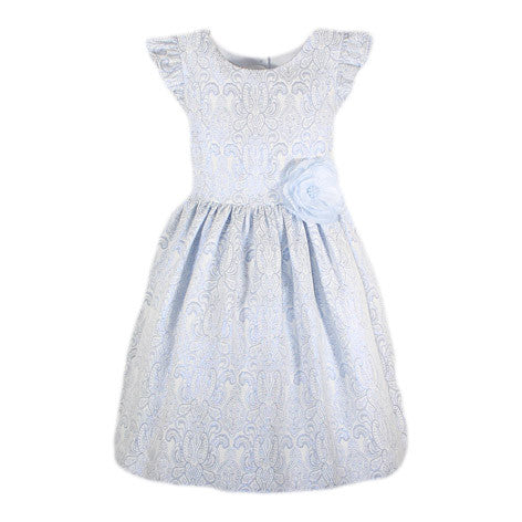 Ruffle Cap Sleeve Brocade Toddler Dress