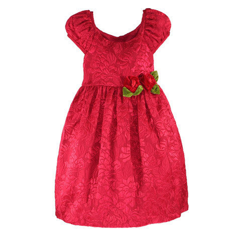 Floral Jacquard Cap Sleeve Toddler Dress