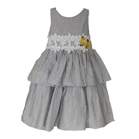 Sleeveless Stripe Tier Toddler Dress