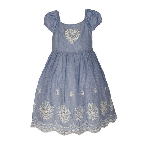 Embroidered Hem Stripe Toddler Dress