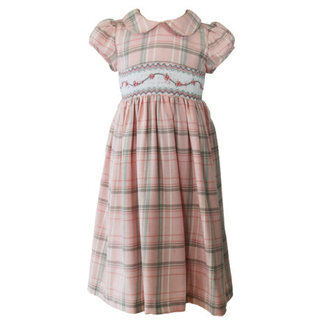 Pink Plaid Peter Pan Collar Toddler Dress