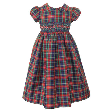 Peter Pan Collar Smocked Plaid Toddler Dress