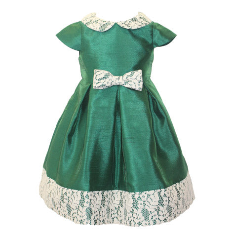 Lace Detail Shantung Toddler Dress