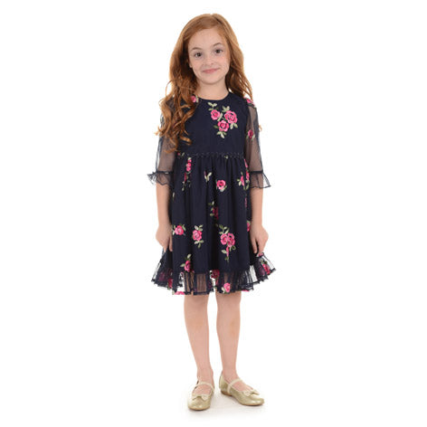 Embroidered Rose Toddler Dress
