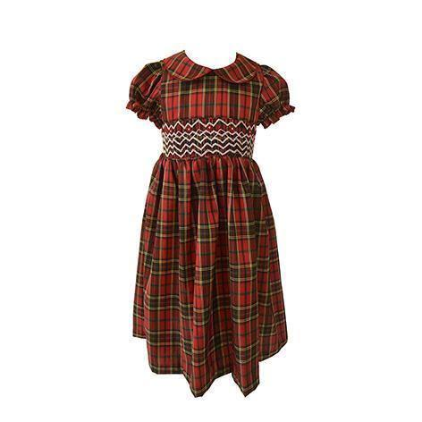 Red Plaid Smocked Toddler Dress