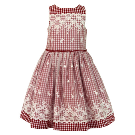Checked Toddler Dress with Embroidery
