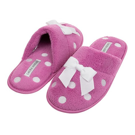 Embroidered Dot Magenta Slipper with Bow