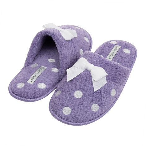Embroidered Dot Purple Slipper with Bow