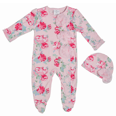 Queensbury Pink Floral Sleep and Play with Cap