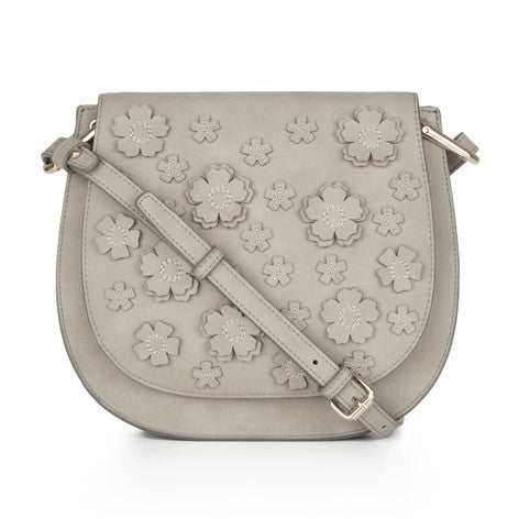 Grey Flower Applique Saddle Bag