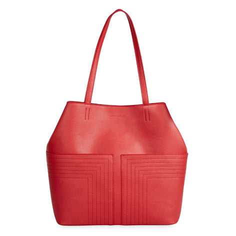 Red Pocket Shopper with Stitch Detail