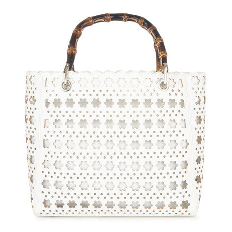 White Daisy Flower Cutwork Bag