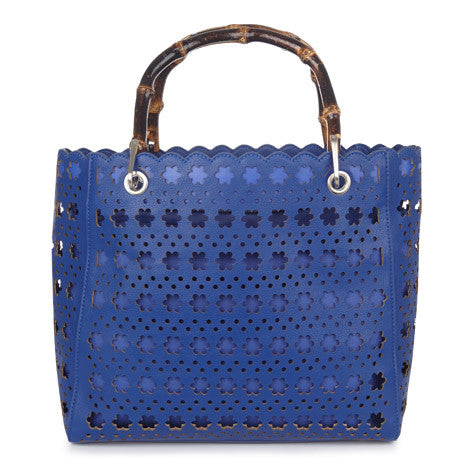 Blue Daisy Flower Cutwork Bag