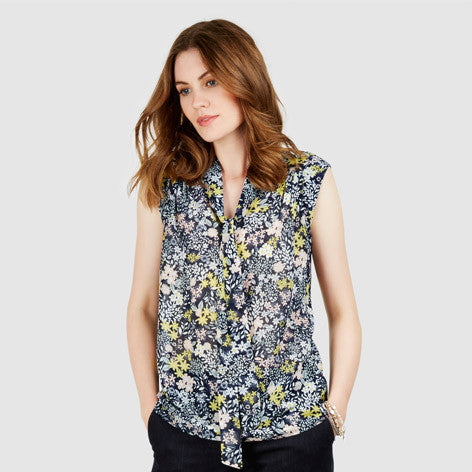 Tie Neck Sugar Almond Floral Blouse