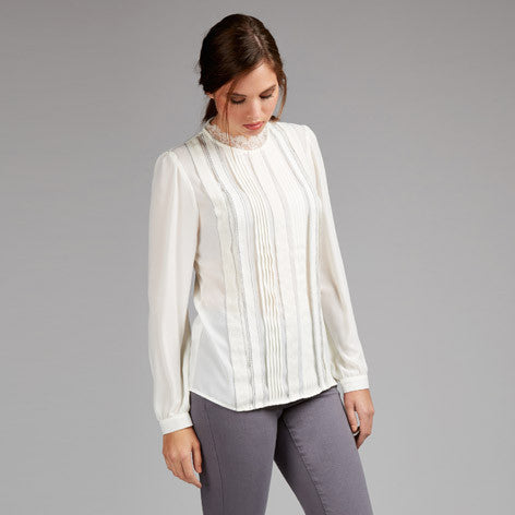 Lace Collar Pleat Front Blouse