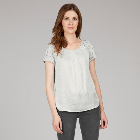 Short Sleeve Lace Satin Top