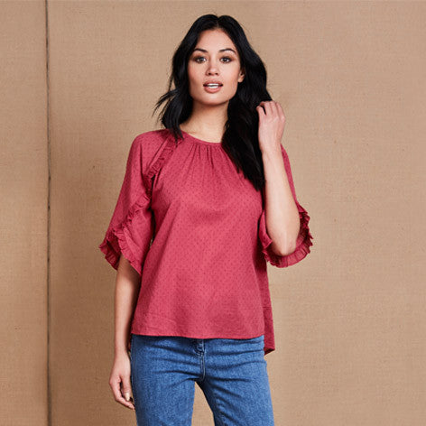 Frill Trim Dobby Blouse