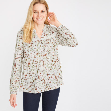 Lace Yoke Button Through Blouse