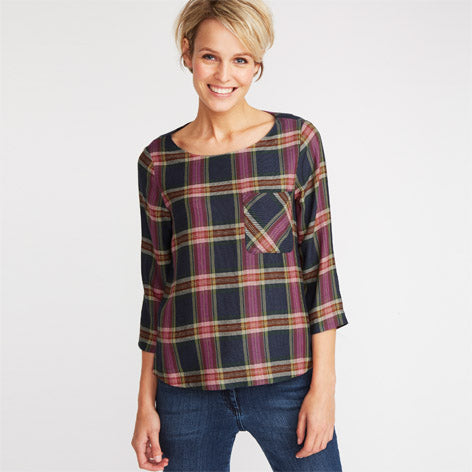 Check Long Sleeve Pocket Front Blouse