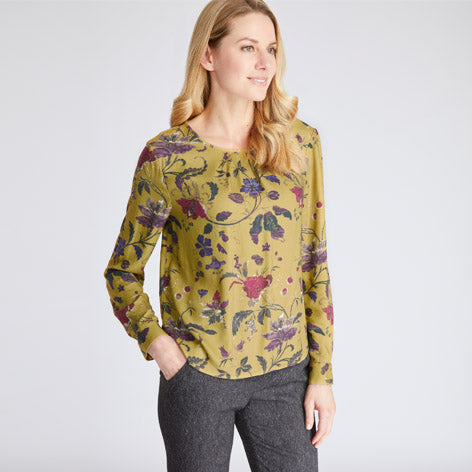 Peridot Treasure Floral Printed Blouse